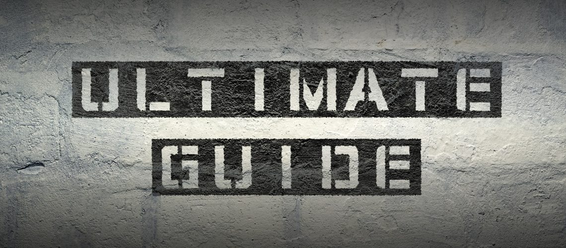 ultimate guide stencil print on the grunge white brick wall